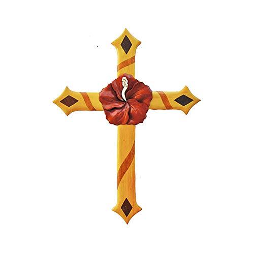 Hawaiian Style Handmade Wood Christmas Ornament One Hibiscus Flower Cross (Hawaiian Cross)