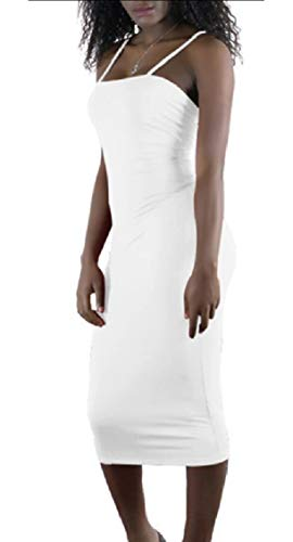 Jaycargogo Mode Sexy Sangle Spaghetti Club Bodycon Partie Mini-robe De La Femme Blanche