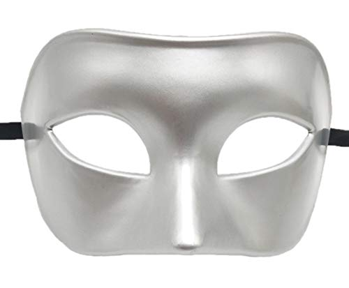 Coolwife Mens Masquerade Mask Greek Roman Party Mask Mardi Gras Halloween Mask (A Silver)