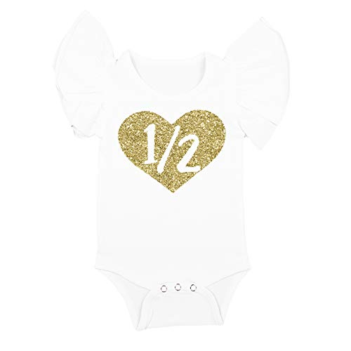 Olive Loves Apple Half Birthday Bodysuit Girls 1/2 in Heart Birthday Glitter Gold Outfit for Baby Girls
