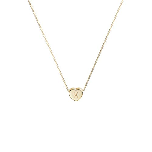 (Tiny Gold Initial Heart Necklace-14K Gold Filled Handmade Dainty Personalized Letter Heart Choker Necklace Gift for Women Kids Child Necklace Jewelry Letter K)