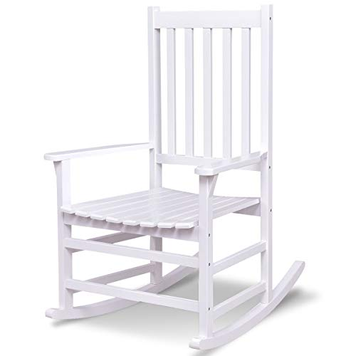 LordBee New Simple Modern Unique Design Style Sturdy Construction Indoor Outdoor Solid Wood Material Porch Rocking Chair Stool White Color ()