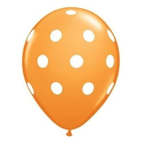 Baby Shower - 20 Pc 12 Quot Polka Dot Latex Balloon Happy Birthday Baby Shower Wedding Bridal Spot Orange White - Name Band Sash Decor Winners Invitations Favor Napkins Cover Thank Favors Dec ()