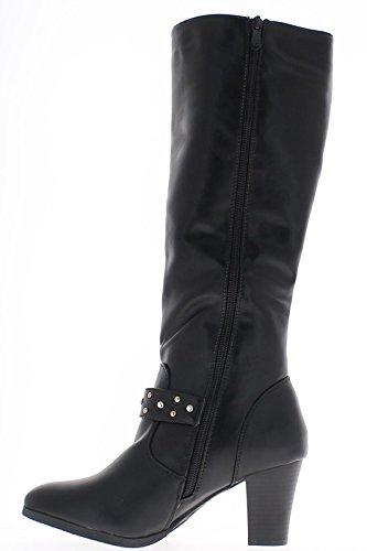Stivali nero donne raddoppiate a chiusura a zip tacco 7,5 cm