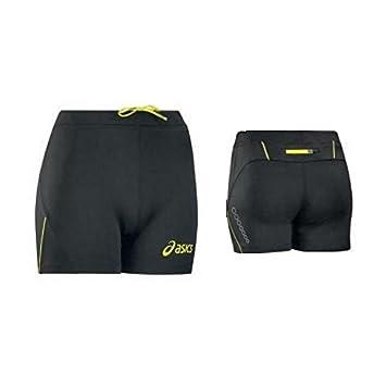 ASICS Shorts atletica running donna elasticizzati LYRA nero giallo fluo T274Z6