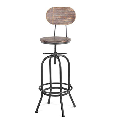 (HAOFAY Industrial Bar Stool, Height Adjustable Swivel Metal with Backrest Bar Stools Decor Kitchen Dining Chair (Color : Black))