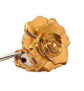 - Ornate Matte Gold Rose Design Compact Mirror - Wedding Party Favor (60)