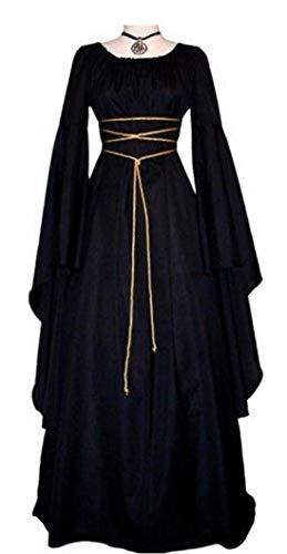 NIUBIA Womens Deluxe Medieval Renaissance Costumes Halloween Cosplay Dress Waist Tie Irish Over Victorian Retro Gown (Small, Black)