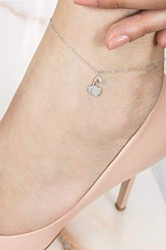 Gold Cherry Anklet, 14K Gold Anklet, White Gold, Sweet Fruit Anklet, Solid Gold Fruit Charm, Gold Cherries, Gift For Daughter, Fruit Jewelry/code: 0.002
