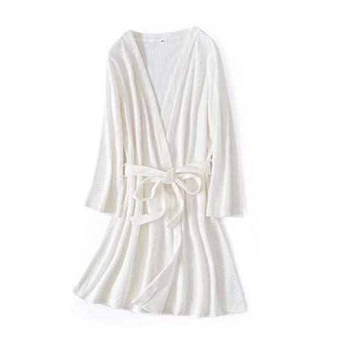 HONGNA Waffle Honeycomb Cotton Bathrobe Solid Color Couple Nightgown Simple Long Section Home Service (Color : Women's White, Size : One Size)