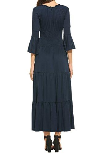 Beyove Manches 3/4 Cloche Élastique Robe Maxi Plissée Renaissance À Plusieurs Niveaux Taille De Bleu Marine Des Femmes