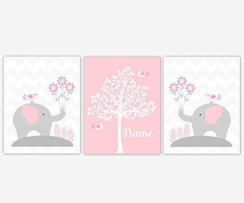 Baby Girl Nursery Wall Art Pink Gray Elephants Personalized Name Silhouette Tree Print Baby Nursery Decor SET OF 3 UNFRAMED PRINTS