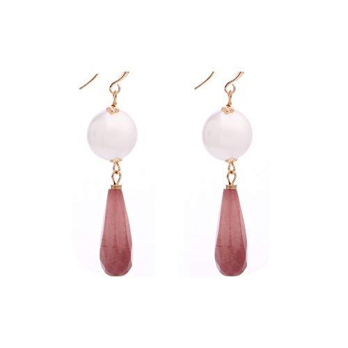Long Drop Earrings Natural Stone Pendant Women Freshwater Pearl Earrings Simplicity Summer Jewelry,Cameo Brown