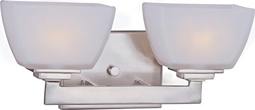 - Maxim 9032SWSN Angle 2-Light Bath Vanity Wall Sconce, Satin Nickel Finish, Satin White Glass, G9 Frost Xenon Xenon Bulb , 100W Max., Damp Safety Rating, 2700K Color Temp, Standard Dimmable, Glass Shade Material, 1150 Rated Lumens