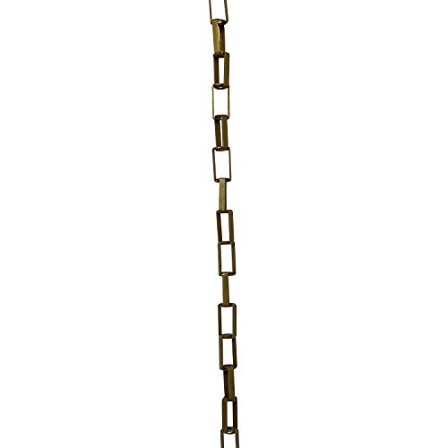 RCH Hardware CH-09-AB-3 Brass Chandelier Chain for Lighting and Hanging Fixtures - Welded Link Rectangular Cage with Centre Wire Hole (3 ft/1 Yard, Antique Brass)