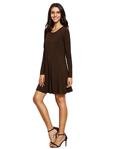 Long Women's Coffee Loose Romwe T Tunic Dress Casual Sleeve Plain Shirt HBxt4qT