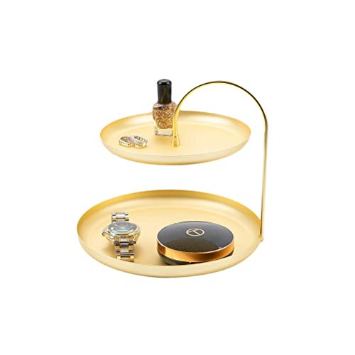 AHUA 2 Tier Jewelry Tray, Gold Metal Jewelry Tower Stand, Jewelry Organizer Display Rack- Bracelet Necklace Ring Tray, Double Cosmetics Tray/Make Up Organizer Tray, Dessert Cake Display Stand (Tier Vanity Perfume 2 Tray)