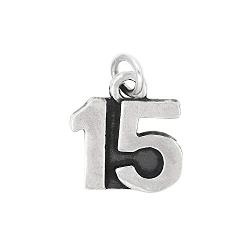 Sterling Silver Oxidized Sweet 15 Number 15 Charm Jewelry Making Supply Pendant Bracelet DIY Crafting by Wholesale -