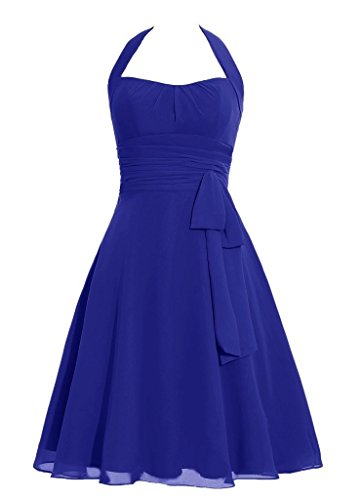 Snowskite Women's Halter Knee Length Chiffon Homecoming Prom Bridesmaid Dress Royal Blue 14