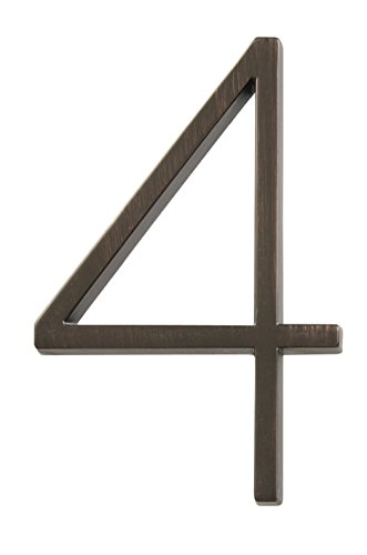 Distinctions by Hillman 843229 5-Inch Die Cast Floating/Flush Mount House Number, Aged Bronze, Number 4