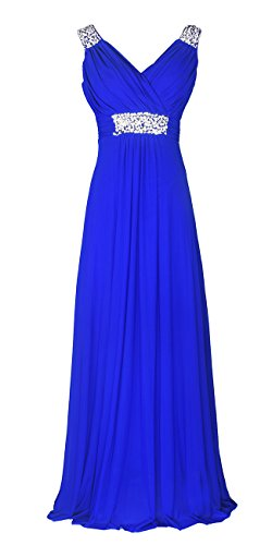 Conail Coco Women Ruched Waist Rhinestone Casual Tulle Semi-Formal Long Wedding Bridesmaid Dress (XLarge, 44Blue)