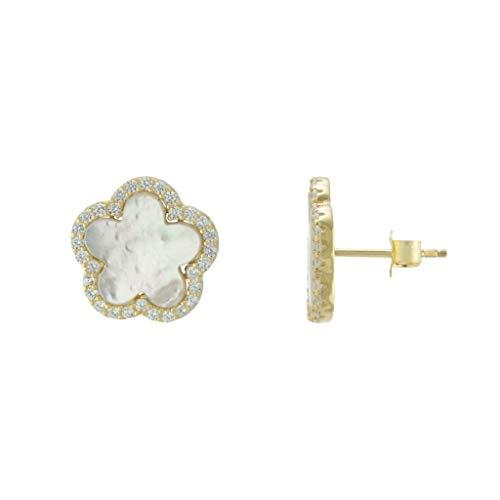 Time 2 Shine Clover Stud Earrings (Clover Flower Gold Pearl) ()