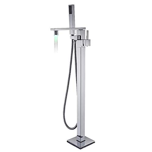 Chrome Polished Bathroom Bathtub Shower Tap System Free Standing Single Handle LED Rotatable Spout with Handheld Sprayer Mixer Tap