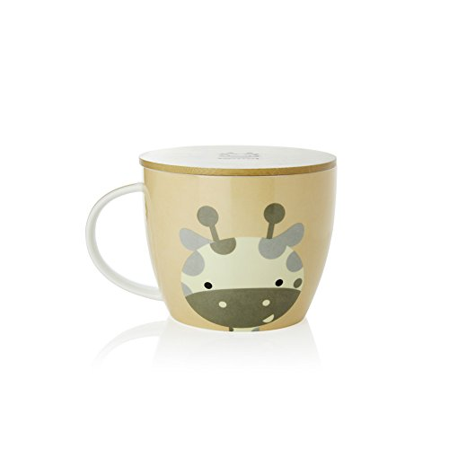UPSTYLE Cute Coffee Mug Animal Pattern Ceramic Cup Travel Mug with Bamboo Lid for Instant Noodle Vegetables Fruit, 30.4OZ, CMBM6 (Giraffe)