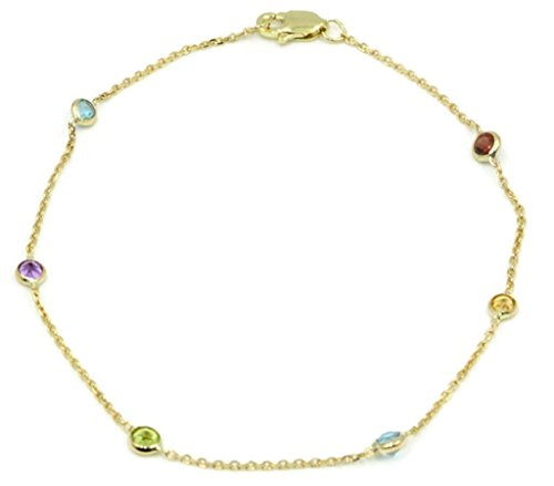 (Multi-Color Gemstone Bracelet ,14k Yellow Gold Lobster Lock, 7