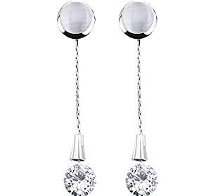 ZMC Women's Rhodium Plated Alloy Austrian Crystals and Imitation Pearls Drop Earrings, Silver/White