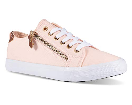 Twisted Women's KIX Canvas Sneakers with Decorative Zippers - KIXLO213BLUSH, Size 8