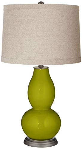 (Olive Green Linen Drum Shade Double Gourd Table Lamp - Color + Plus)