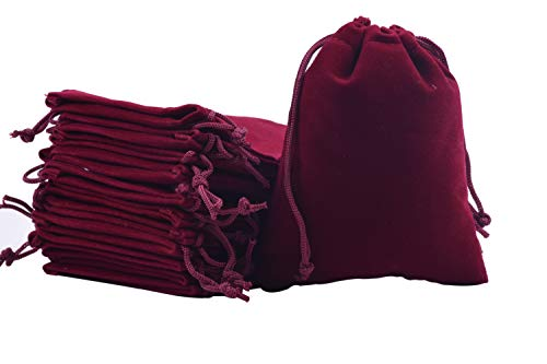 Sansam 25pcs Wine Drawstrings Velvet Bags for Jewelry, Gift, Wedding Favors, Candy Bags, Party Favors, 4.8x6.0''