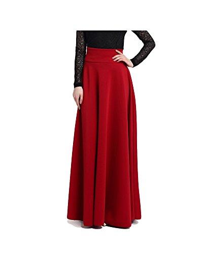 Maxi Jupes Femme Taille Haute Vintage lgante Longues Jupes Dames Doux Confortable Jupe de Serpillire S-5XL Vin Rouge