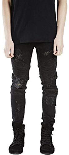 Moda Hombre Recto Nn RT Ripped Closure Hole Skinny Denim Biker Denim Fit Jeans Twill Pantalones 11 Estilos (Color : 90011-Black, Size : 28)