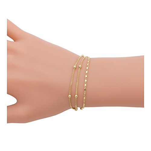 Boosic Double Layer Bracelets Satalite & Plain Chain Link Bracelets Minimalist Jewelry For Women Gold