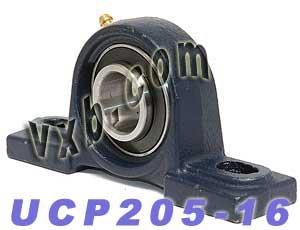 (UCP205-16 Pillow Block Mounted Bearing, 2 Bolt, 1