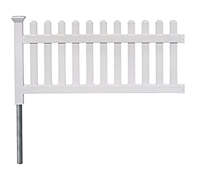 "Zippity Outdoor Products ZP19002 High No-Dig Newport Vinyl Permanent Picket Unassembled Yd Fence, 36""H X 72""W, White"
