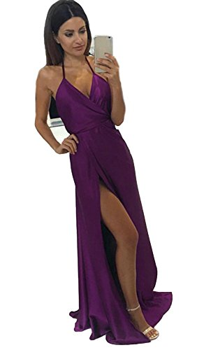 Purple 2018 Prom Prom Elastic Long Halter Dresses CCBubble Backless Satin Dresses PUaWF4nv