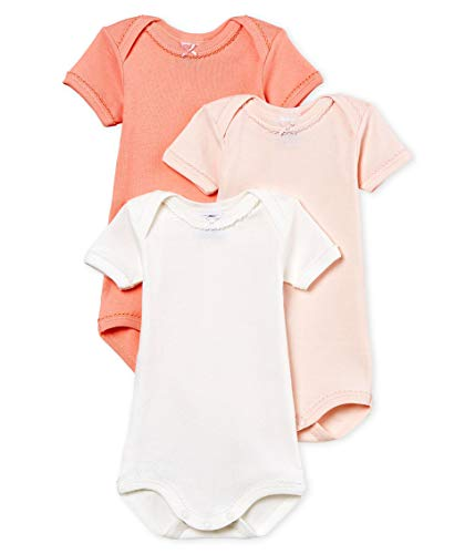 (PRTIT Bateau Baby Girls' Short-Sleeved Cotton and Linen Bodysuit in Gift Box- Set of 3 Sizes 3-36/M Style 48498 (Size 3 Month Style 48498 Girls))