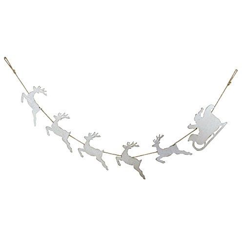 Creative Co-op Santa with Sleigh & Reindeer Tin Garland