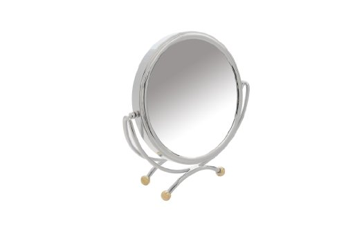 - Danielle Creations Low Profile Vanity Mirror with Gold Plate Accents, 10X Magnification