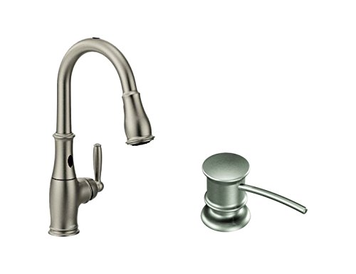 Moen Brantford Motionsense Two-Sensor Touchless One-Handle High-Arc Pulldown Kitchen Faucet Featuring Reflex, Spot Resist Stainless (7185ESRS) with Kitchen Soap and Lotion Dispenser