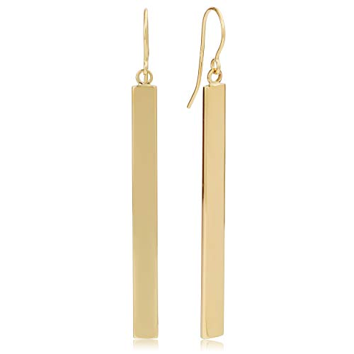 Kooljewelry 14k Yellow Gold Bar Drop Earrings, (4 mm, 2 inch) 14kt Solid Yellow Gold Earring