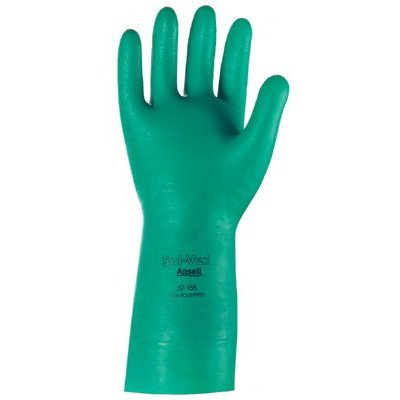 Ansell 37-155-9 Sol-Vex Unsupported Nitrile Gloves, Cuff, Lined, Size 9, Green (Pack of 12)