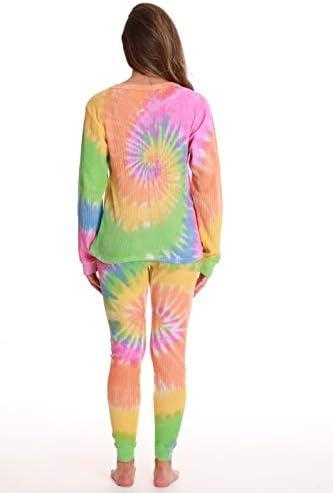 Just Love Women's Tie Dye Two Piece Thermal Pajama Set