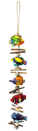 - Fish Mobile Wooden Decorative Wall Hanging Strand Home Decor 34 Inches Long