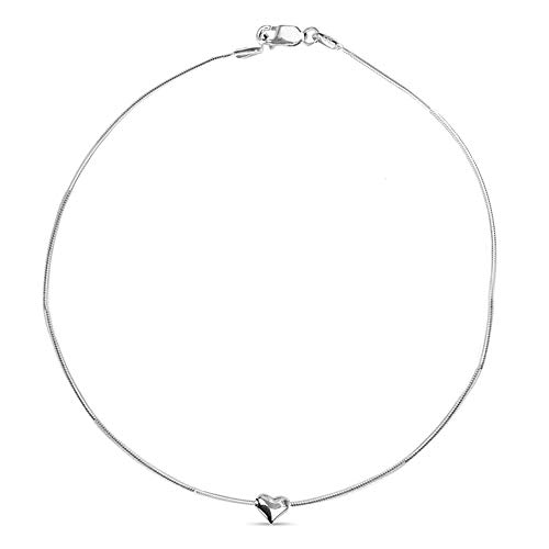 (LeCalla Sterling Silver Valentines Day Jewelry Snake Chain Heart Charm Anklet for Women)