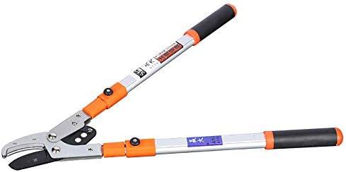 ハンドプルーナー付きの伸縮式ロッパー、レバー駆動システム付きの軽量ハンドルガーデンヘッジおよびツリーロッパーの伸縮式