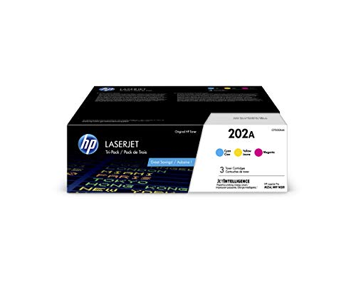 HP 202A | CF501A, CF502A, CF503A | 3 Toner Cartridges | Cyan, Magenta, Yellow